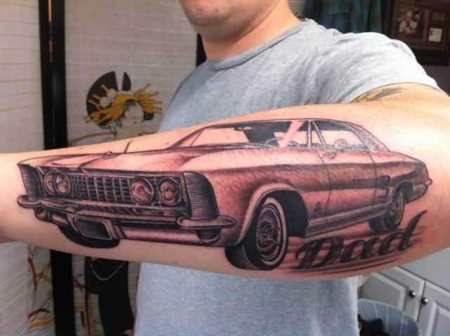 Passionate Men Show Brilliant Car Tattoo Make On Lower Sleeve 2