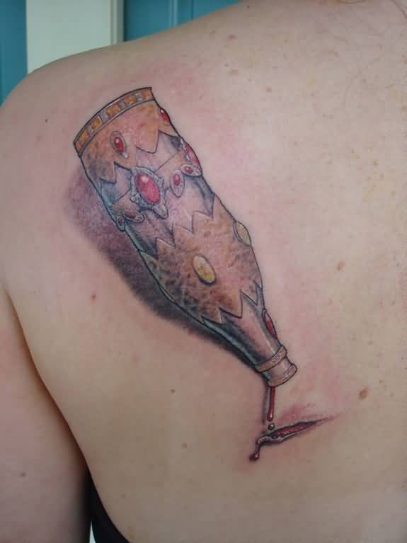 Realistic 3D Big Bottle Tattoo On Back Shoulder2