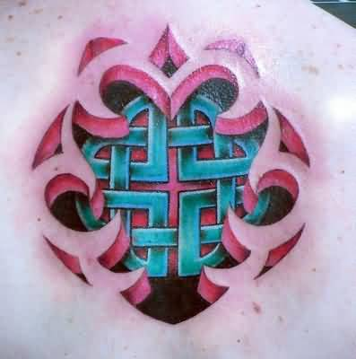 Realistic 3D Ripped Skin Blue Celtic Tattoo On Upper Back 3