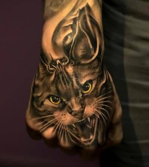 Realistic Angry Cat Head Tattoo On Men's Hand 7