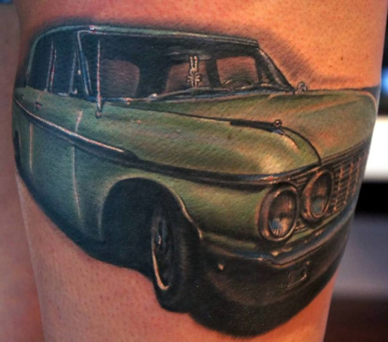 Realistic Green Car Tattoo Design By Artist 7