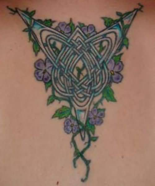 Simple Purple Flowers And Celtic Tattoo Design 11