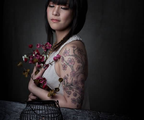 Simple Upper Sleeeve Cherry Blossom Tattoo For Crazy Women 9