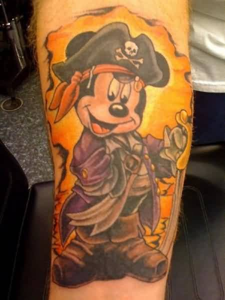 Smiling Funny Mickey Mouse Cartoon Tattoo Design By Ink 36
