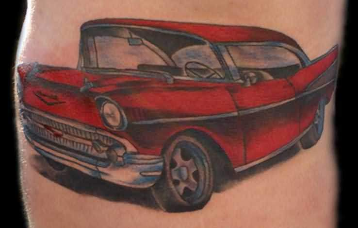 Stunning REd Car Tattoo Made ByExpert 1