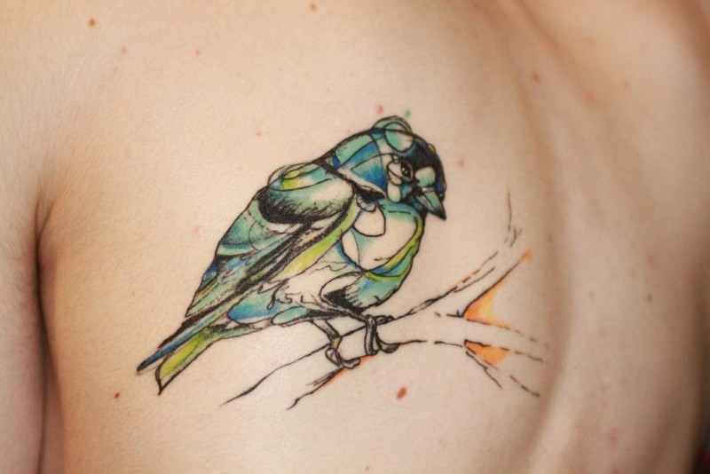 Sweet Bird Sitting On Tree Tattoo Make On pper Back5