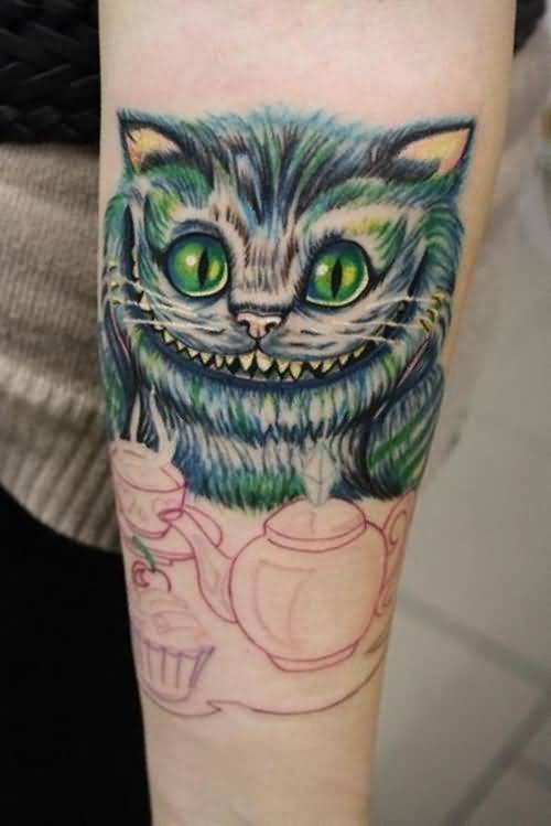 Sweet Cheshire Cat Head Tattoo With Simple Tea Cattle 5
