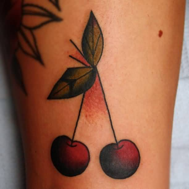 Sweet Red Cherry Tattoo DEsign Made By Ink 11