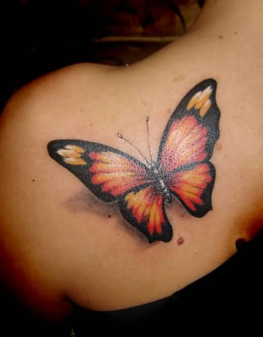 Tattoo Of Awesome Butterfly Sitting On Women's Back Shoulder 4