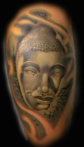 awesome 3d buddha tattoo design on upper sleeve. Black Bedroom Furniture Sets. Home Design Ideas
