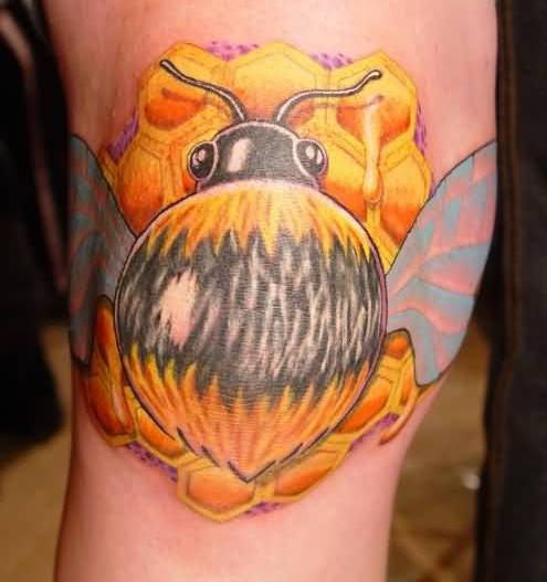 Unique bumblebee tattoo made by yellow ink for Yellow tattoo on dark skin
