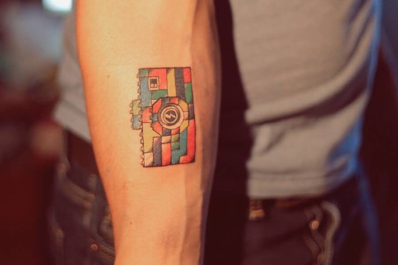 Unique Colorful Camera Tattoo For Men's Sleeve 5