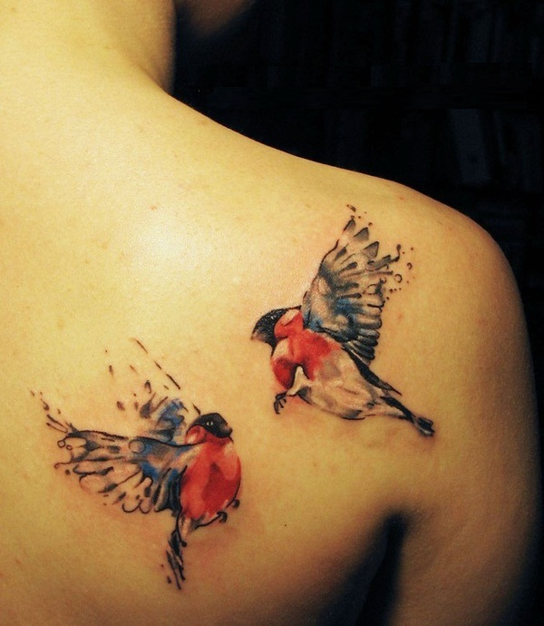 Unique Flying Birds Back Tattoo Made By Colourful Ink4