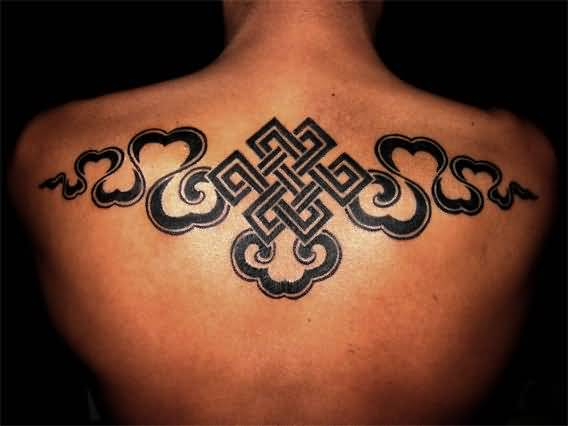 Upper Back Cover Up With Buddhist Symbol Tattoo For Handsome Men    2