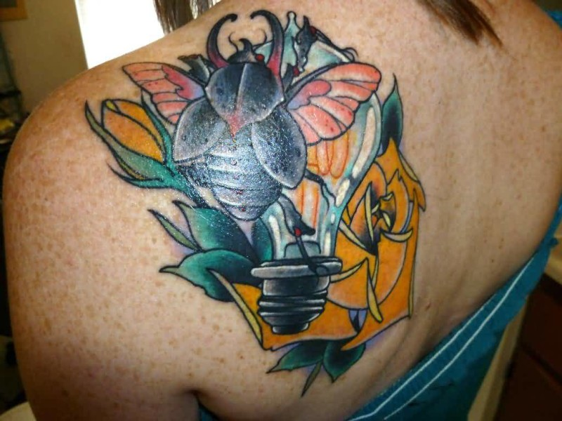 Upper Back Cover Up With Bug And Bulb With Beautiful Yellow Flower Tattoo For Pretty Girl 7