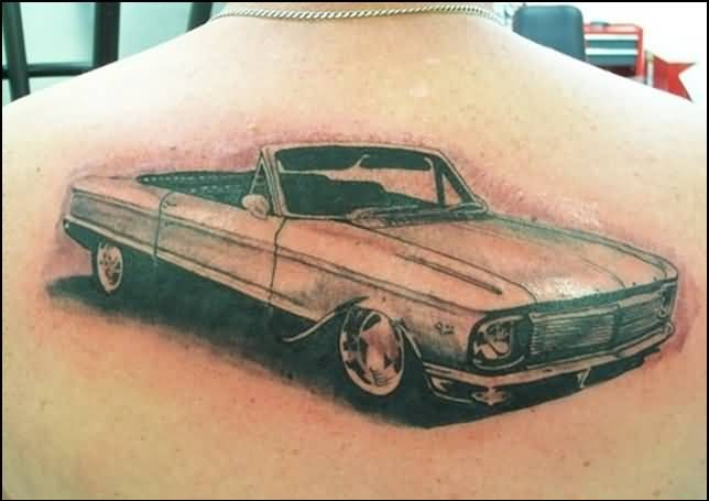 Upper Back Decorated With Outstandintg Car Tattoo For Men 5