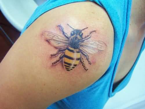 Upper Sleeve Cover Up With Brilliant Bumblebee Tattoo Design By Artist 3