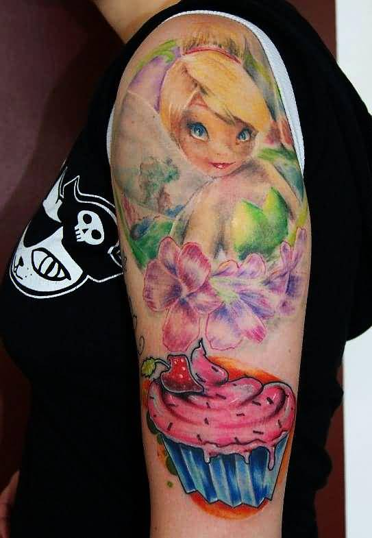 Upper Sleeve Cover Up With Cute Baby Girl And Flower With Yummy Cake Tattoo 10