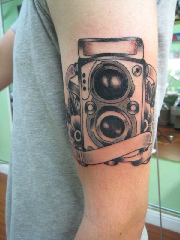Upper Sleeve Cover Up With Film Camera Tattoo Design 1