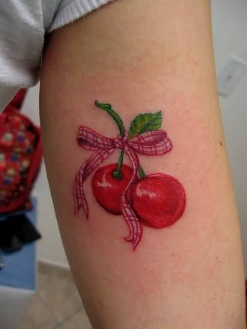 Upper Sleeve Cover Up With Latest Bow Tasty Cherry Tattoo 2