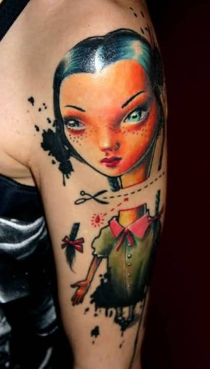 Upper Sleeve Cover Up With Pretty Cut Off Girl Tattoo Design 1