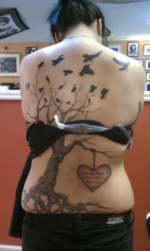 Women full back cover up with flying birds and tree tattoo for Full back tattoos women