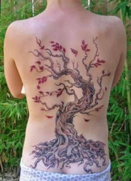 Women Full Back Decorated With Mind Blowing Cherry Blossom Tattoo 5