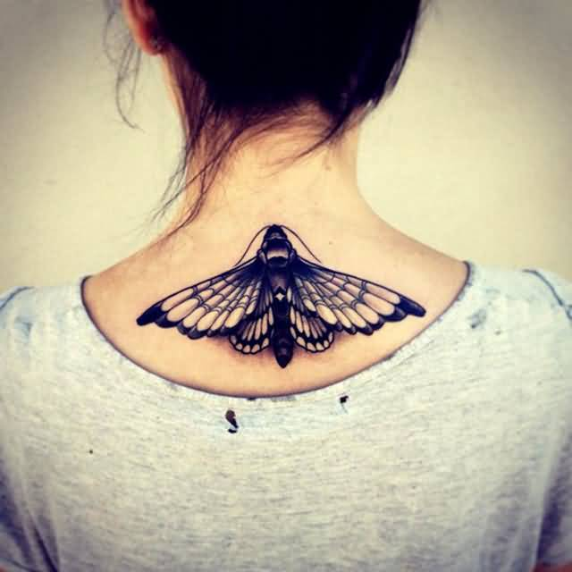 Women Upper Back Decorated With Unique Butterfly Tattoo Design By Ink 6