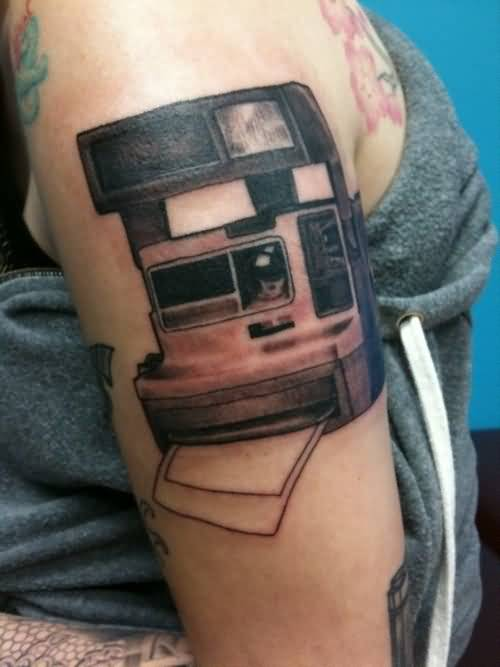 Women Upper Sleeve Cover Up With Old Polaroid Camera Tattoo Design 5