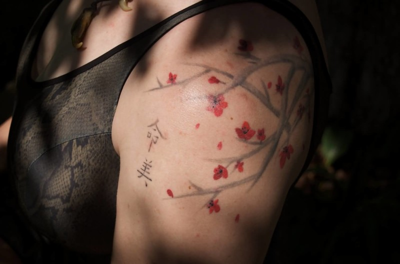 Women Upper Sleeve Cover Up With Simple Cherry Blossom Flowers Tattoo 13