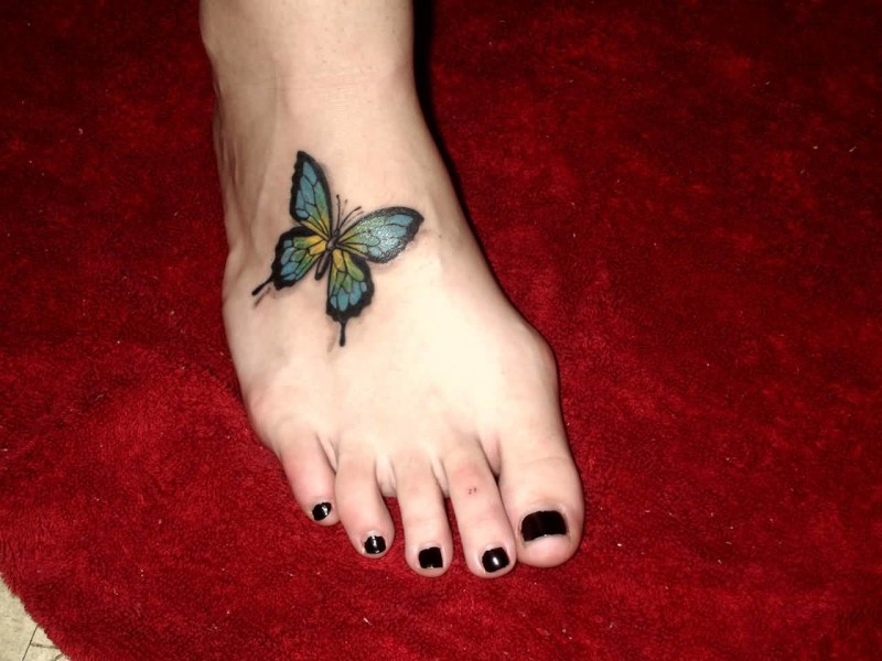 Wonderful Butterfly Tattoo Design On Foot 6