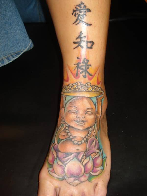 Wonderful Laughing Buddha Sitting On Lotus Tattoo With Famous Asian Letters   4