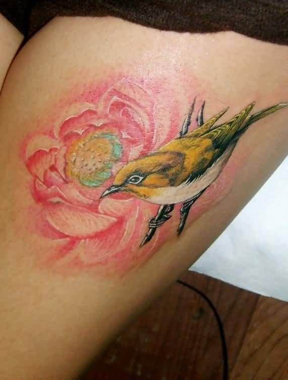 Yellow Cute Bird And Red Flower Tattoo Make On Thigh5