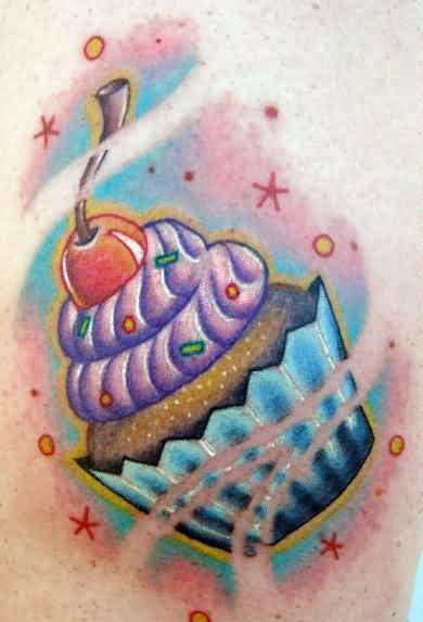 Yummy Cupcake And Tasty Cherry With Colorful Stars Tattoo Design 5