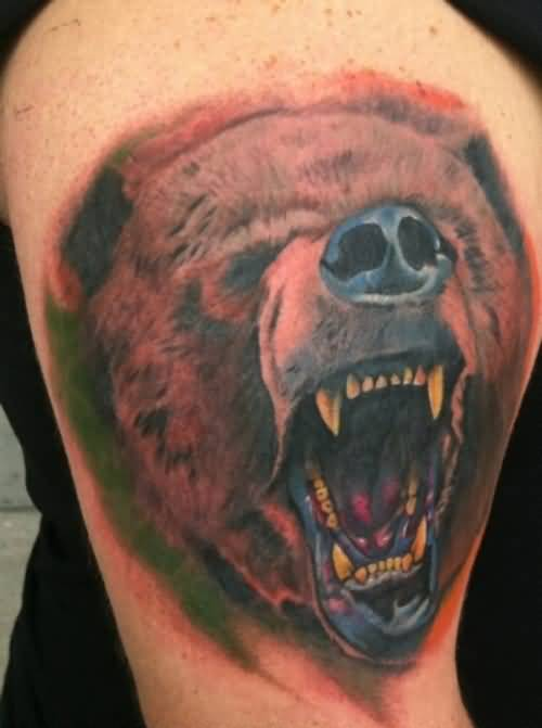 Angry Roaring Bear Face Tattoo On Bicep