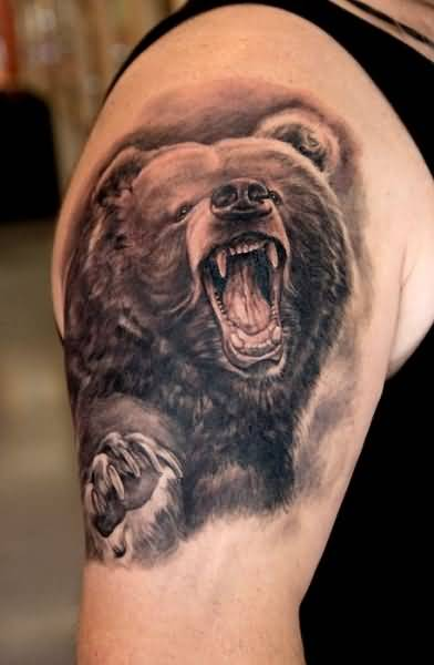 Angry Roaring Bear Tattoo Design On Men's Bicep