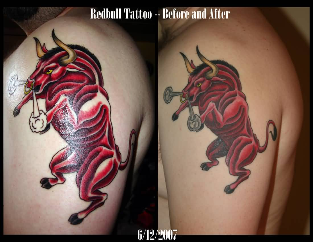 Angry Taurus Red Bull Tattoo Design On Bicep
