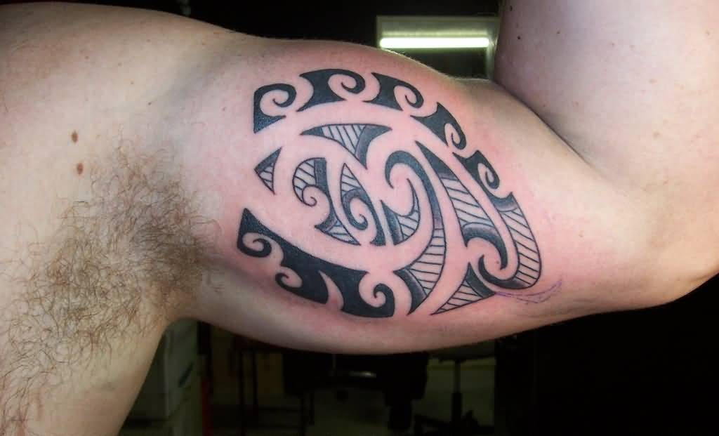 Awesome Black Maori Tattoo Make On Inner Bicep