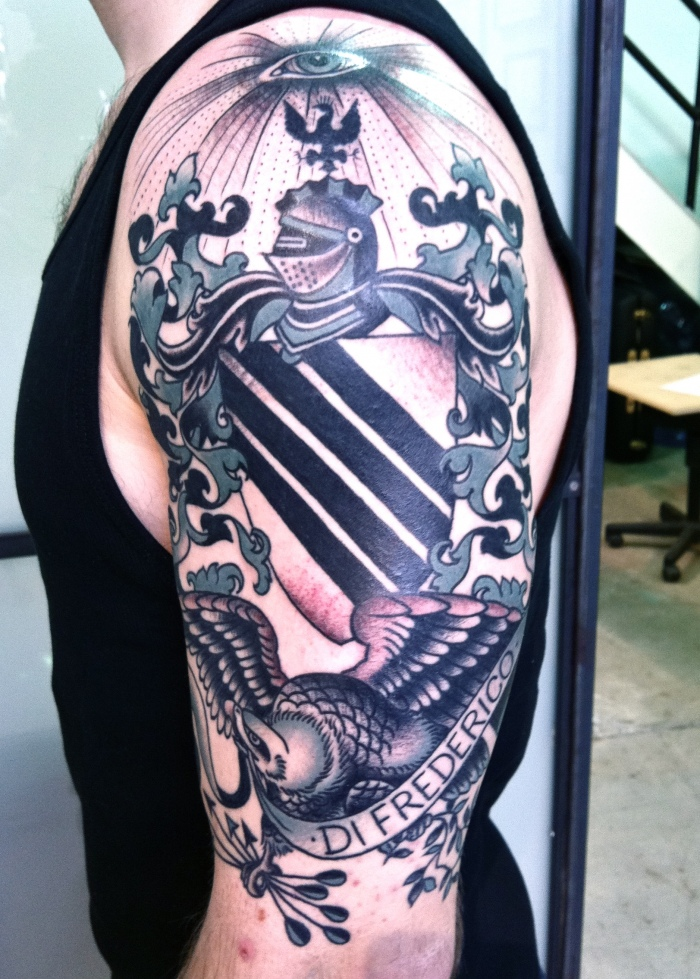 Awesome Family Crest Tattoo Design On Bicep
