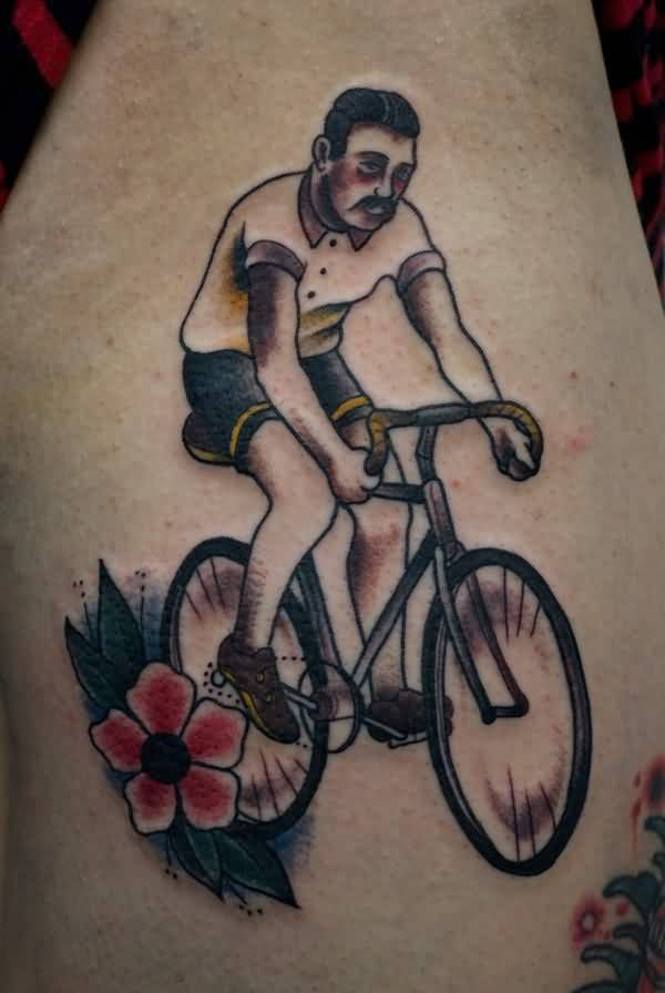 Beautiful Flower And Men Riding On Bike Tattoo