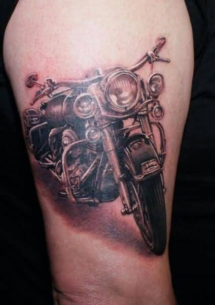 Best Bike Tattoo Design On Upper Sleeve