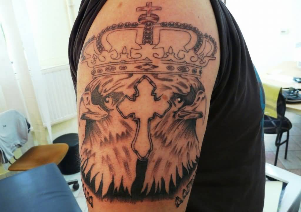 Brilliant Eagle And Cross With Crown Tattoo On Men's Bicep