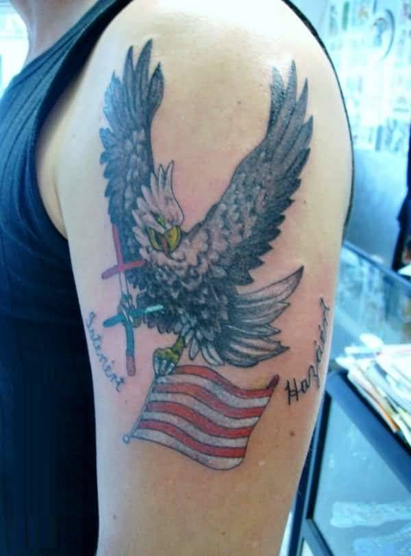 Famous Eagle Hold American Flag Tattoo On Men's Bicep