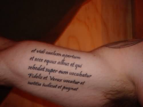 Fantastic Inner Bicep Tattoo Of Wonderful Lettering
