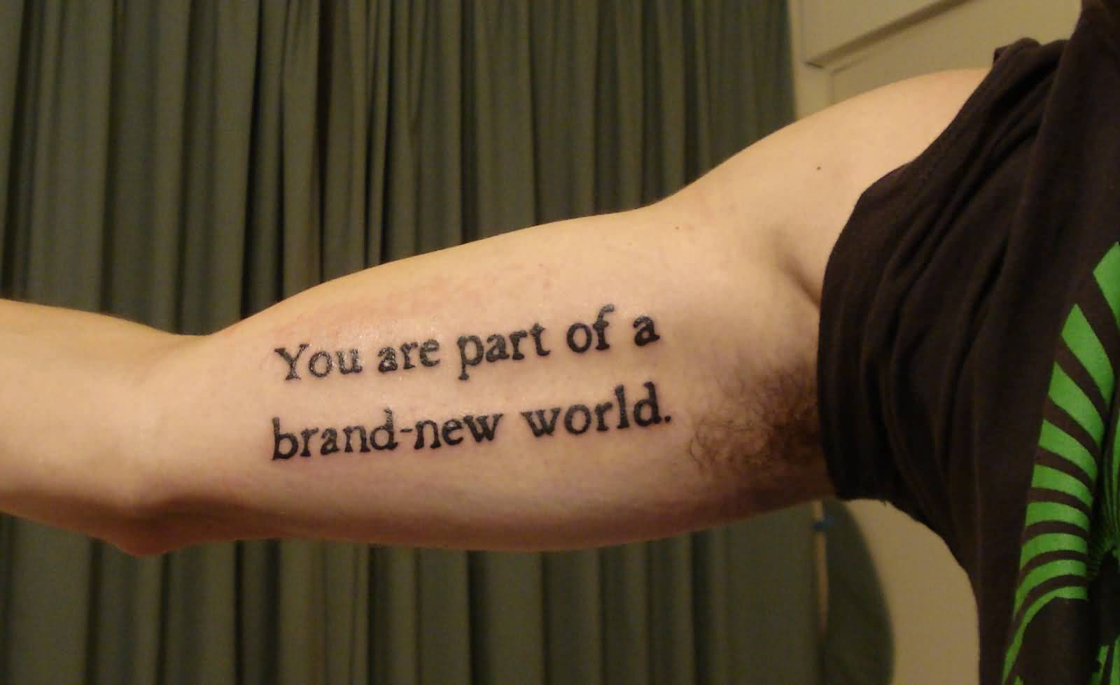 Fantastic Inner Bicep Wording Tattoo Art