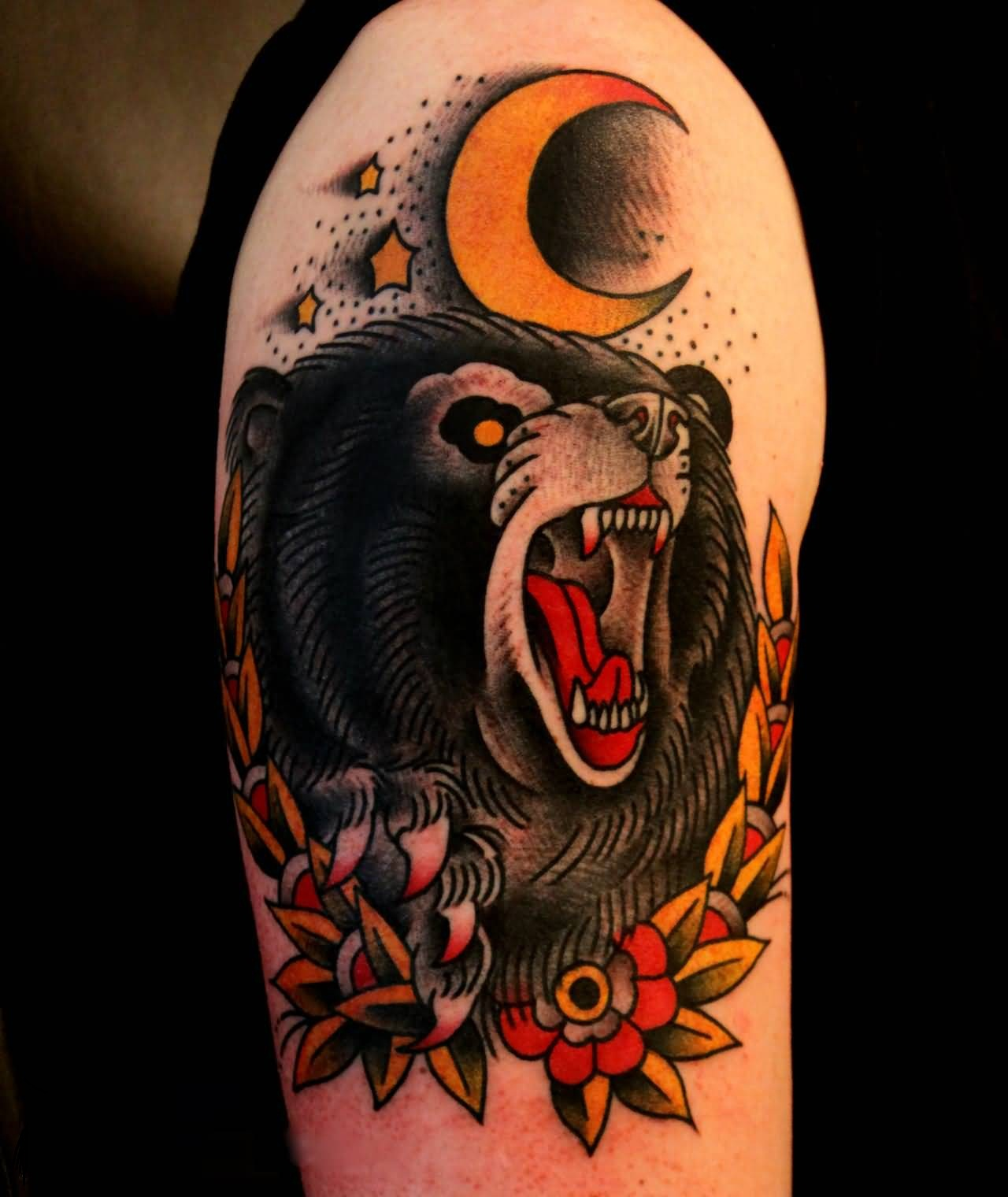 Fantastic Roaring Bear Tattoo With Moon And Tiny Stars Tattoo On Bicep