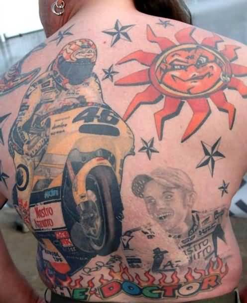 Full Back Cover Up With Bike And Army Stars With Sportsmen Face Tattoo