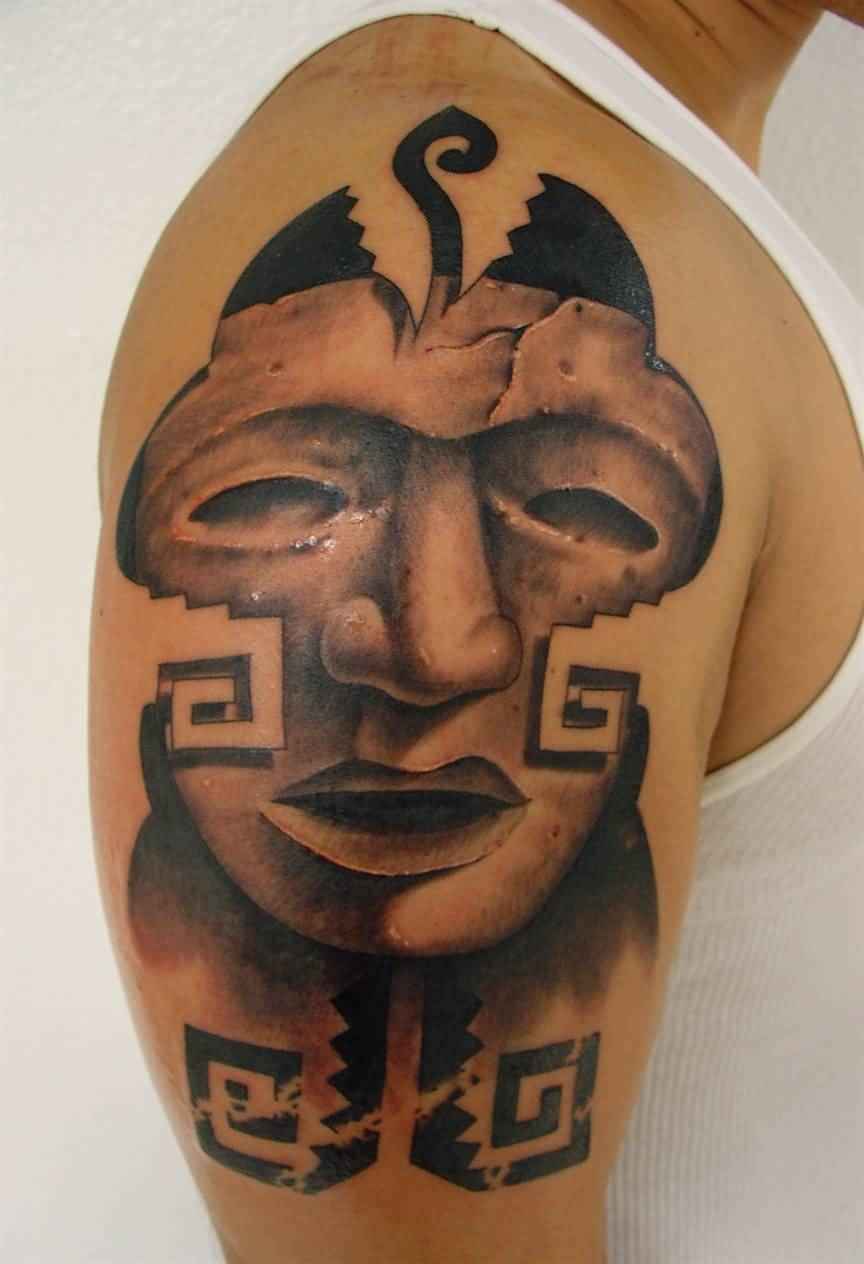 Groovy Aztec Face Tattoo For Cool Men's Bicep
