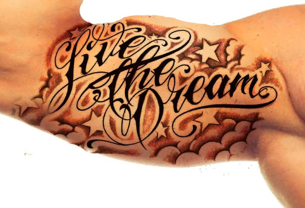 Lovely Ambigram Live The Dream Text Tattoo On Men's Inner Arm
