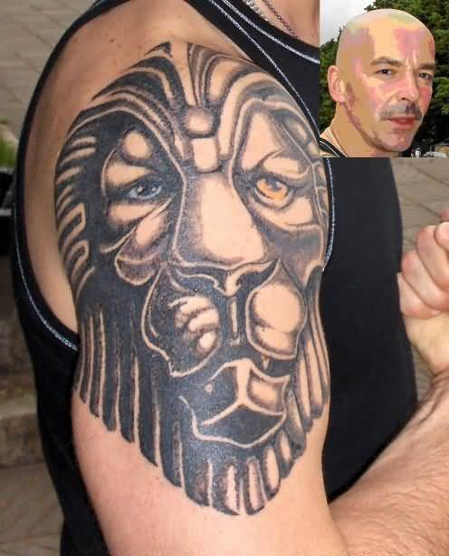 Outstanding Geometric Lion Tattoo For Bicep